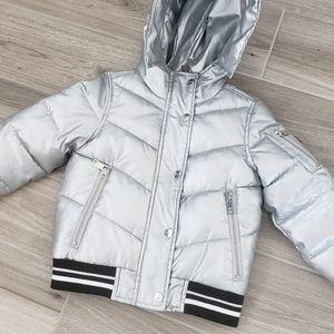DKNY kids silver puffer jacket sz 4
